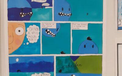 6.-luokkalaisten sarjakuvatyöpajassa autettiin valasta